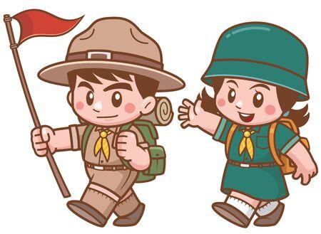 Illustration vectorielle de caractère scout enfants
