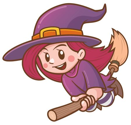 Vector illustration of Cartoon witch flying on broom Ilustrace