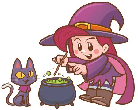Vector illustration of Cartoon Witch and black cat with cauldron Ilustrace