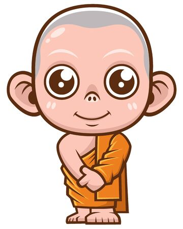 Vector illustration of Buddhist Monk cartoon 向量圖像