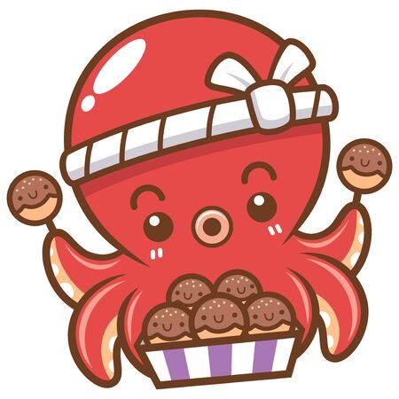 Vector illustration of Cartoon octopus chef takoyaki