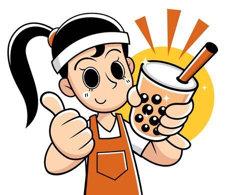Vector illustration of Cartoon Female presenting Bubble tea