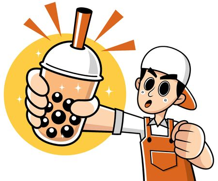 Vector illustration of Cartoon Male presenting Bubble tea