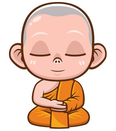Vector illustration of Buddhist Monk cartoon 일러스트