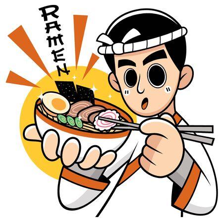 Vector illustration of Cartoon Chef Japanese noodles presenting food. Wording meanings : Ramen Stock Illustratie