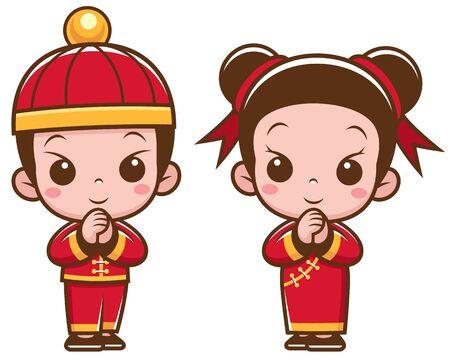 Vector illustration of Cartoon Chinese Kids