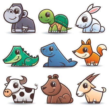 Vector illustration of Animals cartoons set