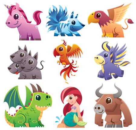 Vector illustration of Cartoon fantastic animal collection