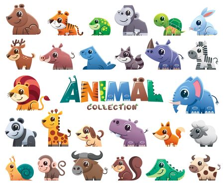 Vector illustration of Wild animals cartoons collection