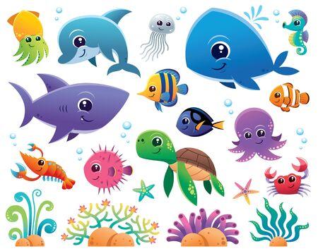 Vector Illustration of Sea animals Cartoon set Vectores
