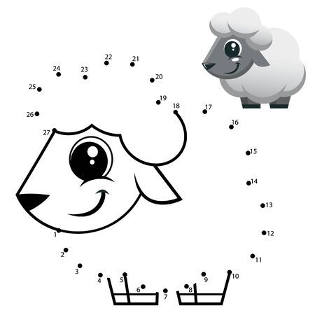 Education Numbers game. Dot to dot game. Sheep cartoon Vectores