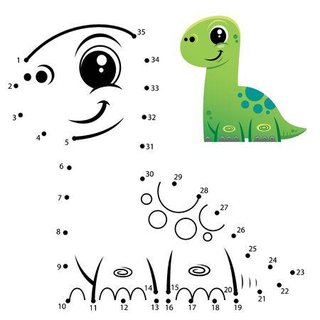 Education Numbers game. Dot to dot game. Dinosaur cartoon