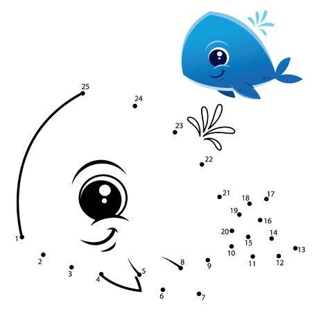 Education Numbers game. Dot to dot game. Whale cartoon Vectores