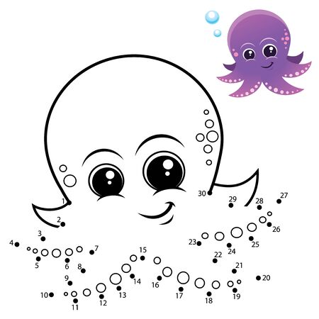 Education Numbers game. Dot to dot game. Octopus cartoon
