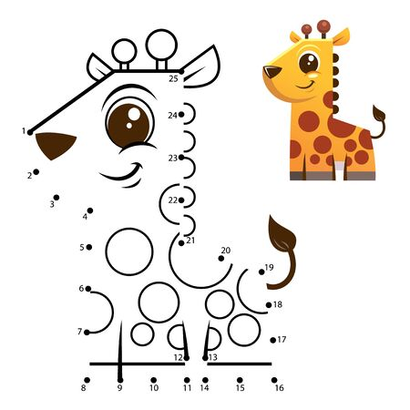 Education Numbers game. Dot to dot game. Giraffe cartoon Vectores
