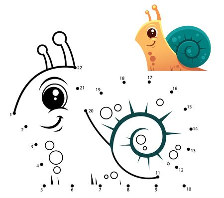Education Numbers game. Dot to dot game. Snail cartoon
