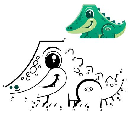 Education Numbers game. Dot to dot game. Crocodile cartoon