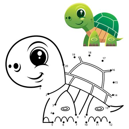 Education Numbers game. Dot to dot game. Turtle cartoon