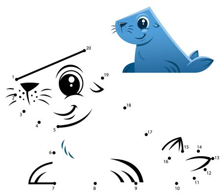 Education Numbers game. Dot to dot game. Seal cartoon Vectores