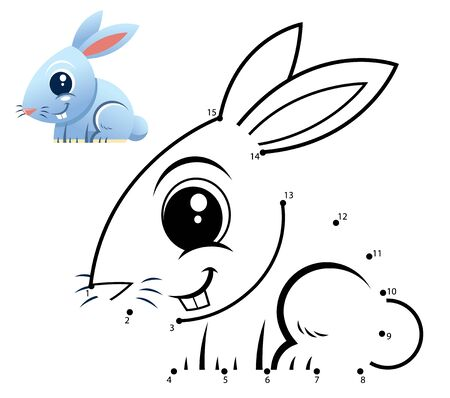 Education Numbers game. Dot to dot game. Rabbit cartoon Vectores