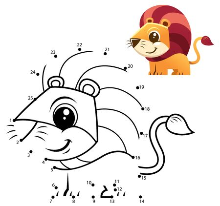 Education Numbers game. Dot to dot game. Lion cartoon