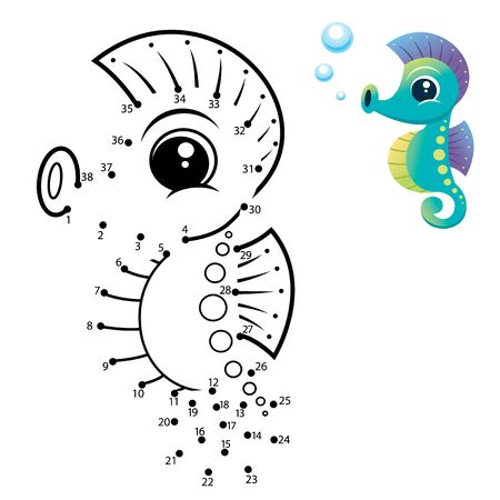 Education Numbers game. Dot to dot game. Seahorse cartoon Vectores