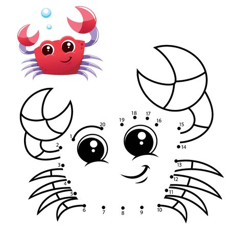 Education Numbers game. Dot to dot game. Crab cartoon