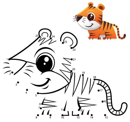 Education Numbers game. Dot to dot game. Tiger cartoon