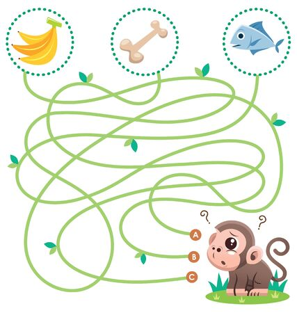 Education Maze Game Monkey with food. Game for kids Vectores