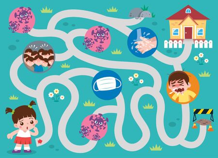 Education Maze Game Kids to home. Game for kids. virus covid 19 concept