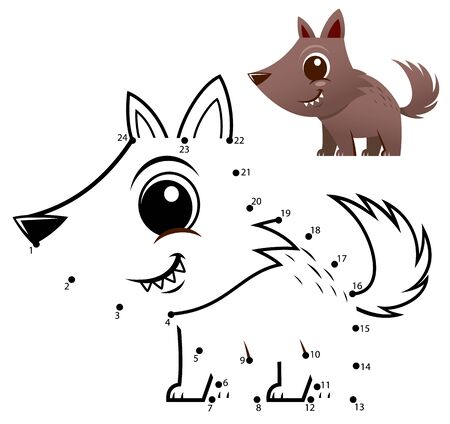 Education Numbers game. Dot to dot game. Wolf cartoon