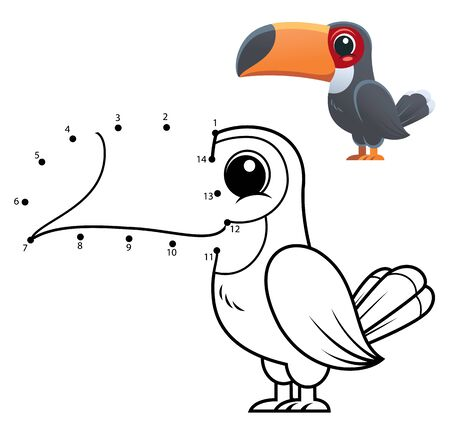 Education Numbers game. Dot to dot game. Toucan cartoon