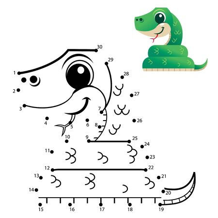 Education Numbers game. Dot to dot game. Snake cartoon