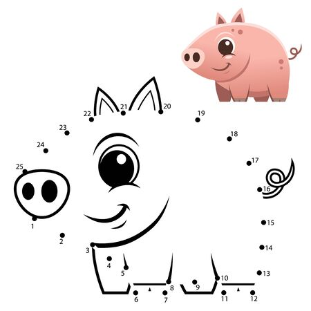 Education Numbers game. Dot to dot game. Pig cartoon Vectores