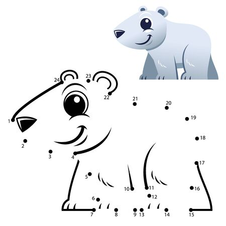 Education Numbers game. Dot to dot game. Polar bear cartoon