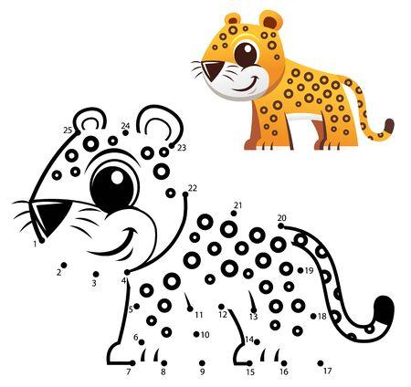Education Numbers game. Dot to dot game. Jaguar cartoon