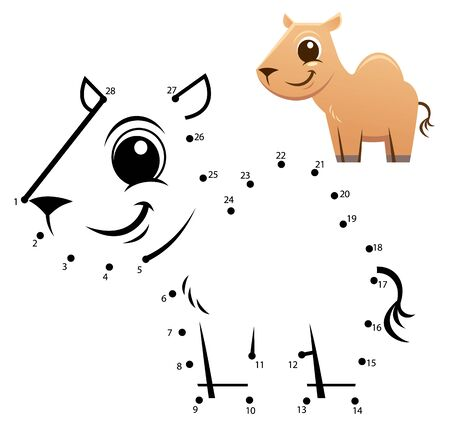 Education Numbers game. Dot to dot game. Camel cartoon Vectores