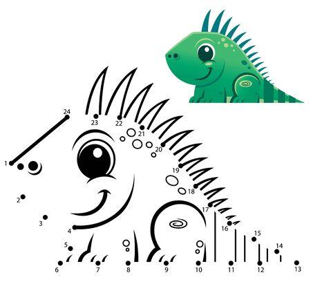 Education Numbers game. Dot to dot game. Iguana cartoon