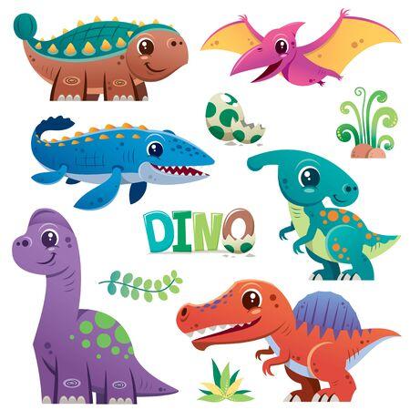 Vector illustration of Cartoon Dinosaur Character Set