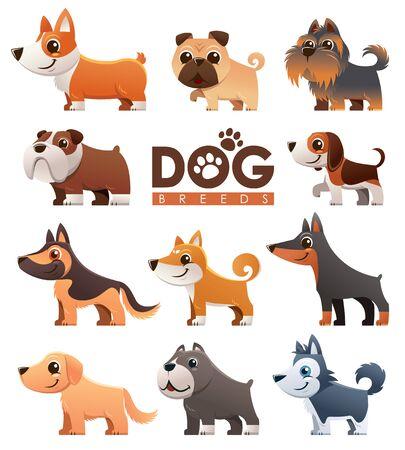 Vector illustration of Cartoon dogs breeds set