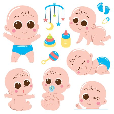 Vector Illustration of Cartoon Baby character set with toy baby
