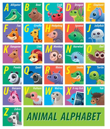 Vector illustration of Animals alphabet for kids education Vectores