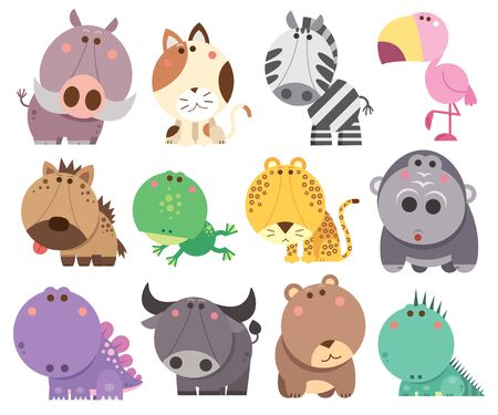 Vector illustration of Animals cartoons collection. funny animals. Cute animals