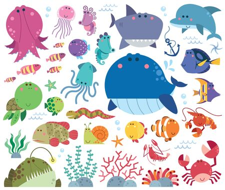 Vector Illustration of Sea animals Cartoon set. Marine life. Underwater animals. Vectores
