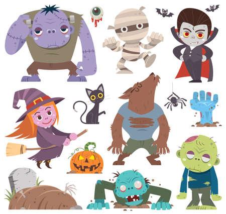 Vector illustration of Cartoon Set Halloween characters. Mummy, zombie, vampire, witch, pumpkin head Vectores