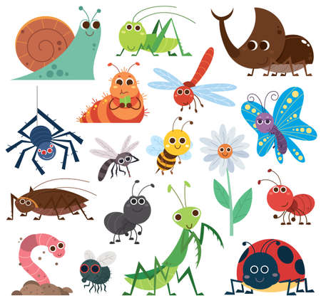 Vector Illustration of Cute insect set. Cartoon insects. beetle, butterfly, bee, snail. cockroach Vectores