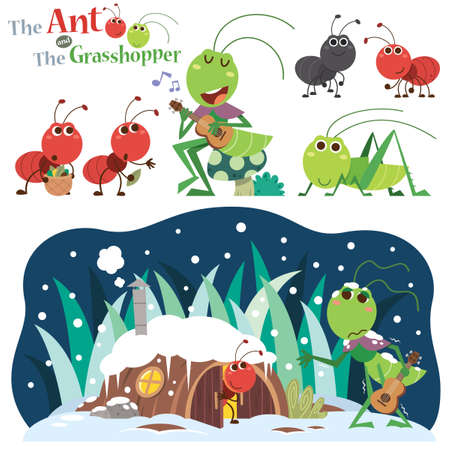Vector Illustration of The Ant and the Grasshopper. Fairy tale characters.