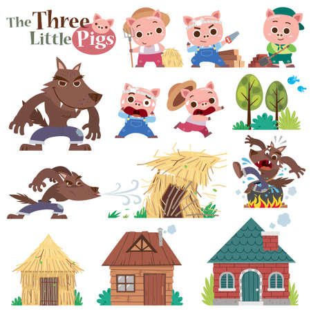 Vector illustration of Cartoon Three little pigs. Set of cute characters Vectores