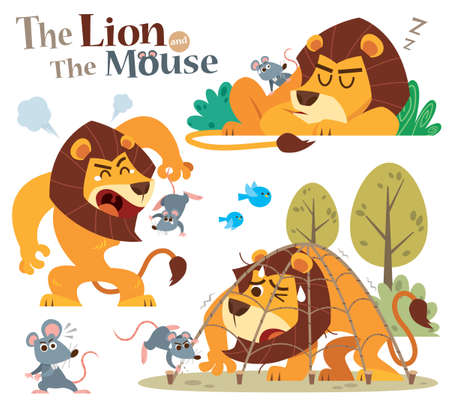 Vector Illustration of Cartoon Lion and Mouse. Fairy fable tale characters.