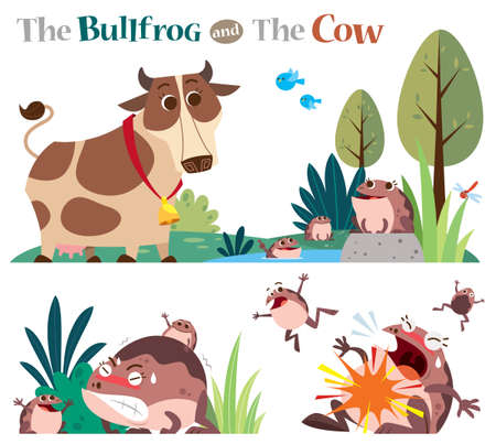 Vector Illustration of Cartoon characters The Bullfrog and the Cow. Vectores